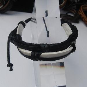 Unisex Genuine Leather Adjustable Breaded Bracelet